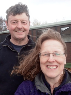 Ruth Sharpe and Mike Norton outside their workshop at Kensaleyre